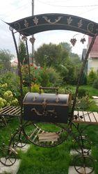 Мангал-барбекю с крышей (ковка,  ручная работа,  новый)